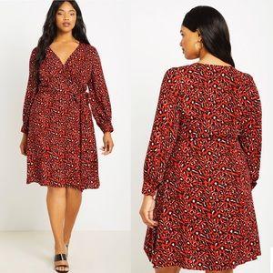 Eloquii Leopard Print Long Sleeve Wrap Dress